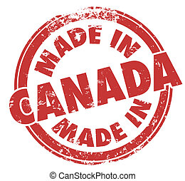 canada, rond, fait, fierté, fabrication, rouges, timbre, produit
