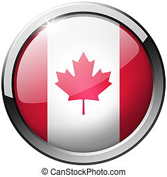 Canada Round Metal Glass Button