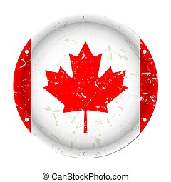 Canada - round metal scratched flag, screw holes