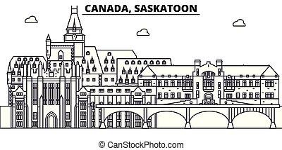 Canada, Saskatoon line skyline vector illustration. Canada, Saskatoon linear cityscape with famous landmarks, city sights, vector landscape.
