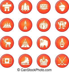 canada, set, iconen, reizen, vector, rood