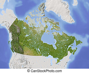 Canada, shaded relief map - Canada. Shaded relief map, with...