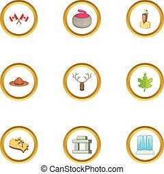 Canada sight icons set, cartoon style