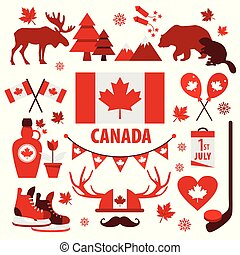 Canada sign and symbol, Info-graphic elements flat icons set.