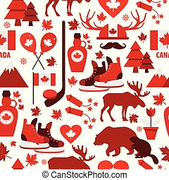 Canada sign and symbol, Info-graphic elements flat icons set in seamless pattern.