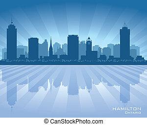 canada, skyline città, hamilton, silhouette