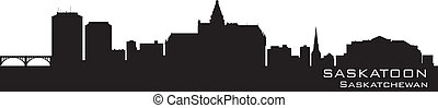 canada, skyline., dettagliato, saskatoon, silhouette