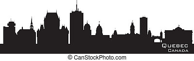 canada, skyline., québec, silhouette, détaillé