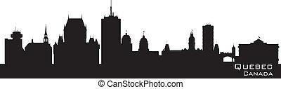canada, skyline., quebec, silhouette, dettagliato