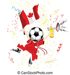 Canada Soccer Fan with Ball Head.