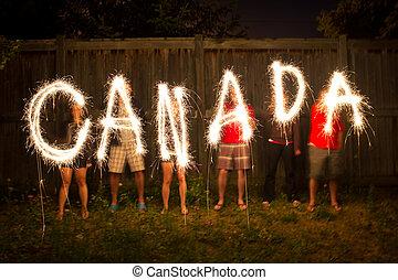 canada, sparklers, in, de tijdspanne van de tijd, fotografie