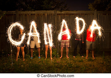 Canada sparklers in time lapse photography - The word Canada...