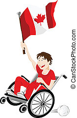 Canada Sport Fan Supporter on Wheelchair with Flag