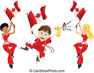 Canada Sport Fan with Flag and Horn