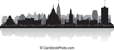canada, stad, silhouette, ottawa, skyline, vector