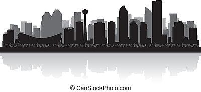 canada, stad, silhouette, skyline, vector, calgary