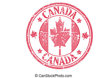 canada stamp - Red stamp with the canadian flag and the name...