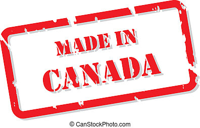 Red rubber stamp vector of Made In Canada