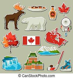 Canada sticker icons set.
