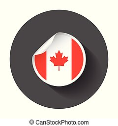 Canada sticker with flag. Vector illustration with long shadow.