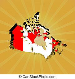 Canada sunburst map with flag illustration