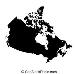canada térkép, fekete