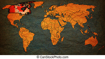 canada territory on world map - canada flag on old vintage ...