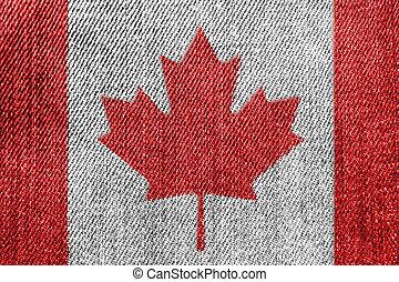 Canada Textile Industry Or Politics Concept: Canadian Flag Denim Jeans
