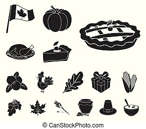 Canada Thanksgiving Day black icons in set collection for design. Canada and Tradition vector symbol stock web illustration.