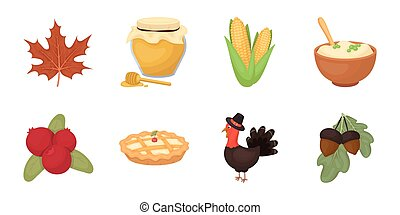 Canada Thanksgiving Day icons in set collection for design. Canada and Tradition vector symbol stock web illustration.