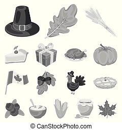 Canada Thanksgiving Day monochrome icons in set collection for design. Canada and Tradition vector symbol stock web illustration.