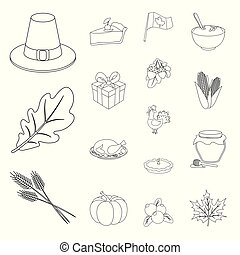 Canada Thanksgiving Day outline icons in set collection for design. Canada and Tradition vector symbol stock web illustration.