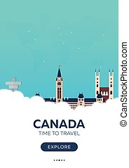 Canada. Time to travel. Travel poster. Vector flat illustration.