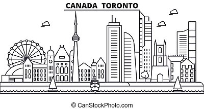 Canada, Toronto architecture line skyline illustration....