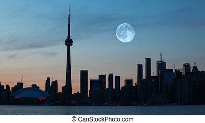 canada, toronto, sur, pleine lune