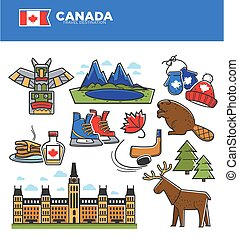 Canada tourism travel landmarks and culture famous symbols vector icons set