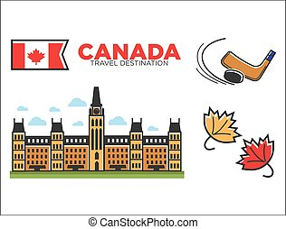 Canada travel destination ptomotional poster with country...