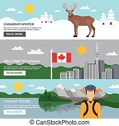 Canada Travel Horizontal Banners Set