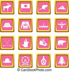 Canada travel icons pink