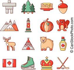 Canada travel icons set, cartoon style