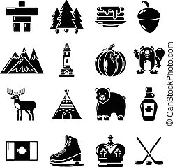 Canada travel icons set, simple style