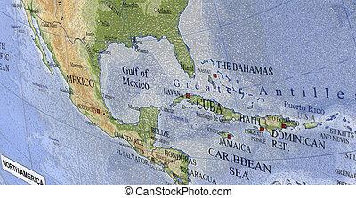 colorful map of canada, usa. closeup macro plastic texture. new travel concept. bahamas, haiti, mexico, cuba