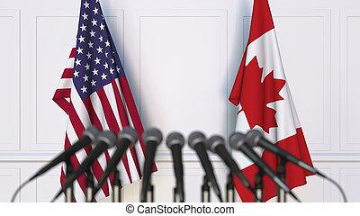 canada, usa, vertolking, vlaggen, internationaal, conference., vergadering, of, 3d
