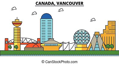 Canada, Vancouver. City skyline architecture, buildings,...