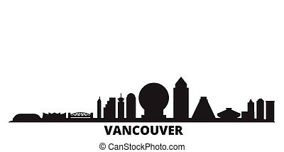 Canada, Vancouver city skyline isolated vector illustration. Canada, Vancouver travel black cityscape
