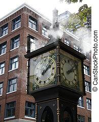 canada, vancouver, orologio vapore