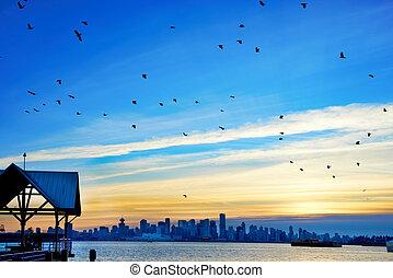 canada, vancouver, tramonto, sopra
