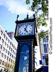 canada, vancouver, vapore, gastown, orologio