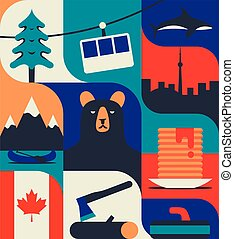 Canada, vector flat illustration, icon set, colorful pattern.