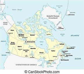 canada, vector, kaart, met, provincies, en, grens